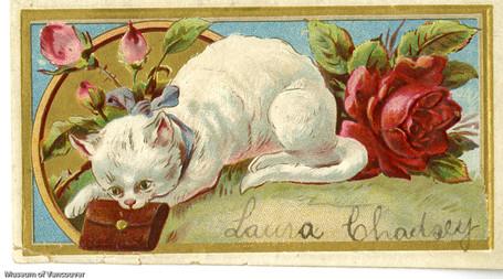 A 1880s calling card w rose
